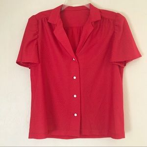 Vintage 60's Women's Shirt Size M Red White Swiss